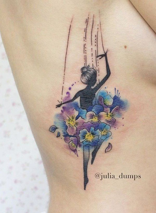 Watercolor dancer side tattoo - Another alternative to the abstract girl dancing is the watercolor style. This one smaller which makes it perfect for a side tattoo and is much more milder and graceful.