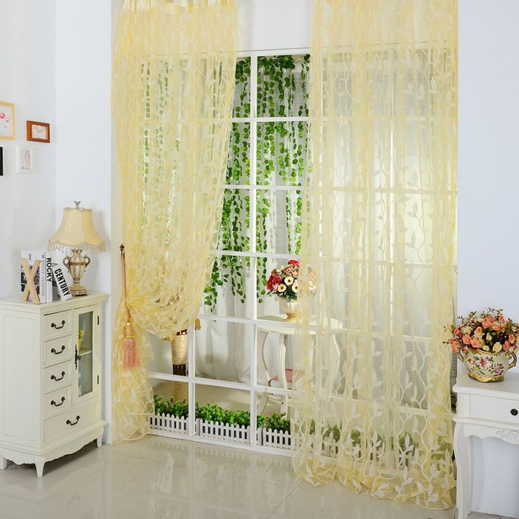 Leaf Type Tulle Voile Door Window Curtains Drape Panel Sheer Scarf Valance #Affiliate