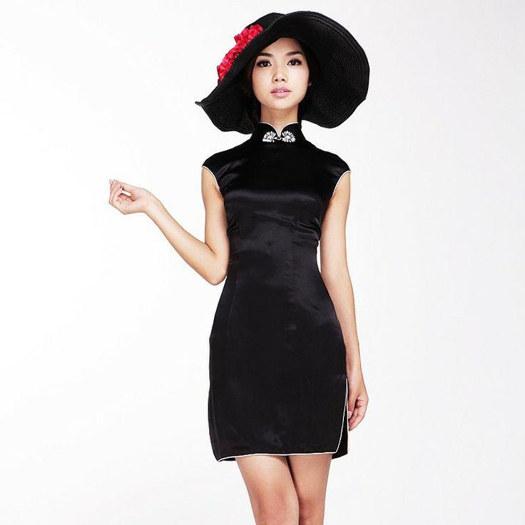 Black silk satin short cheongsam dress. Silent Meaning