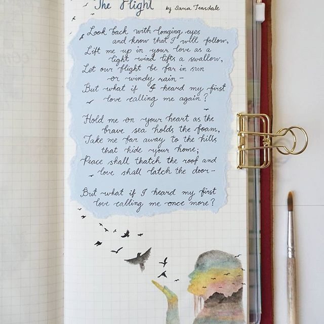 One of my favorite poems: The Flight by Sara Teasdale ❤  #poem #sarateasdale #theflight #watercolor #midoritravelersnotebook #midori #calligraphy #art #journal #journaling #poetry #love #bird #silhouette #swallow #wind #whisper #first #brush #gold #paintbrush #inktober
