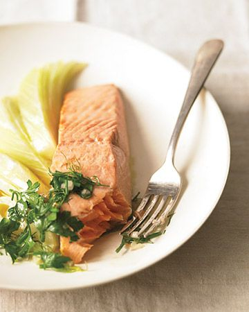 Steamed Wild Salmon with Fresh Herbs and Fennel