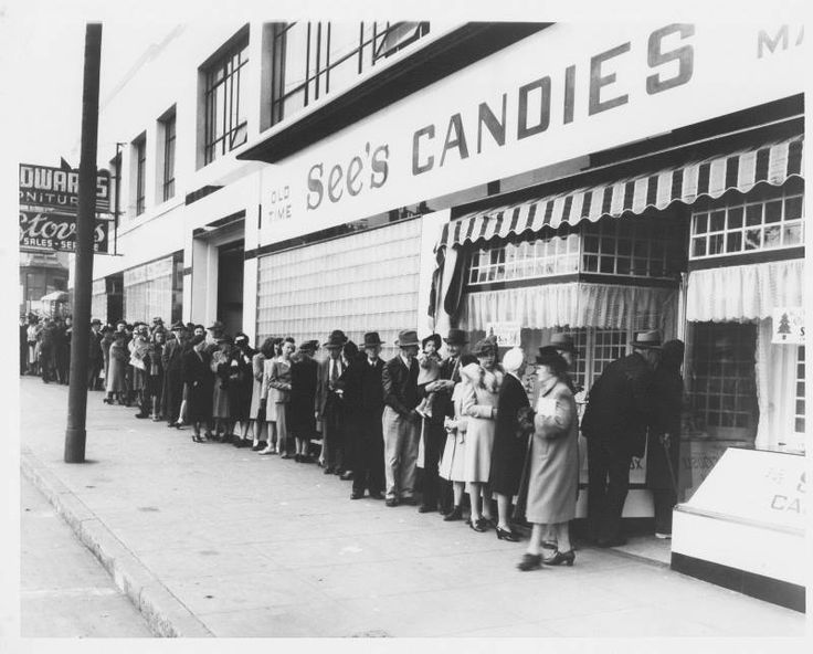 During World War II, sugar was rationed.   See's Candies refused to compromise on the quality of their recipes, so they made fewer candies.  People lined up daily to buy the candy until it was gone, and then See's would close for the day.