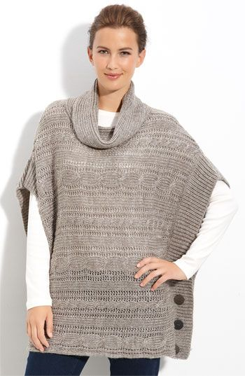 Fever Cable Knit Poncho | Nordstrom.  - I need a pattern for crochet in this style doesn't have to match stitch