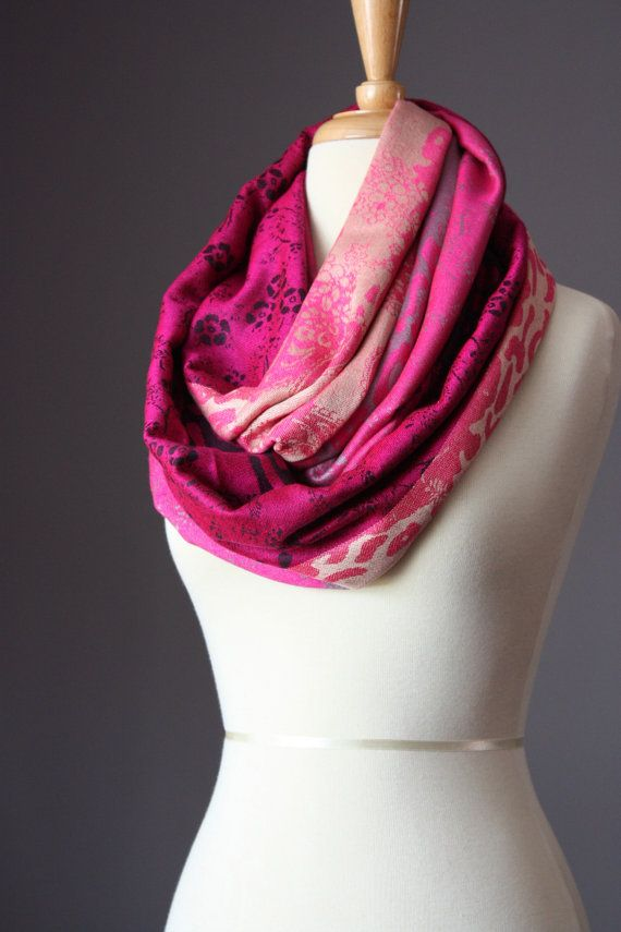 Hot pink Infinity Scarf,  pashmina silk soft ,  luster beautiful scarf. $29.00, via Etsy.