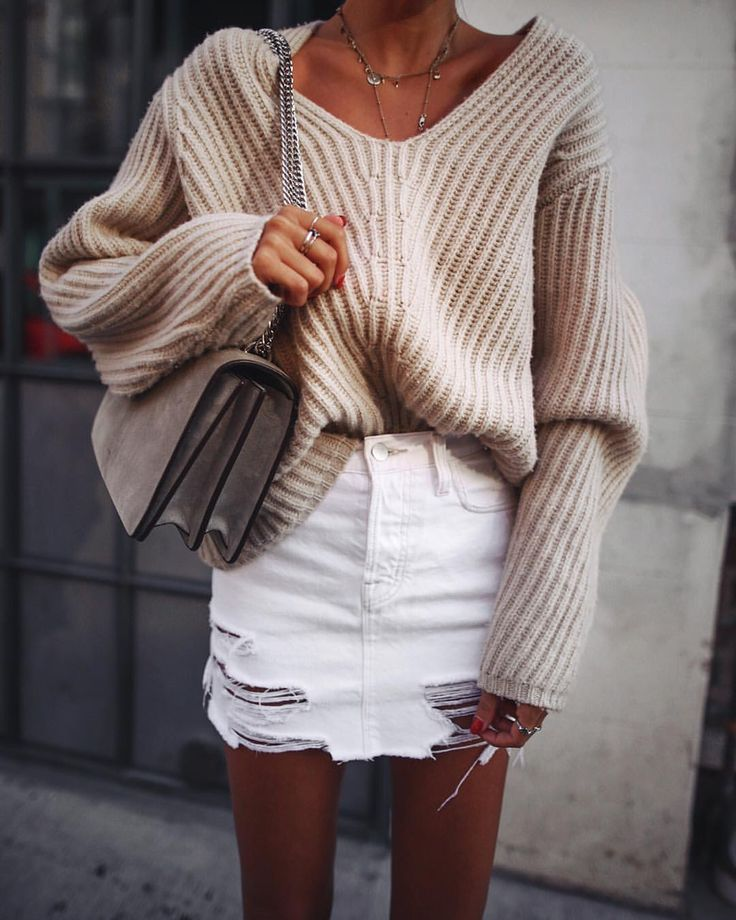 How to wear a jean skirt and sweater |Andy Csinger (@andicsinger) on Instagram