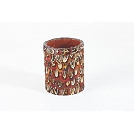 Pheasant feather round pen pot - £28