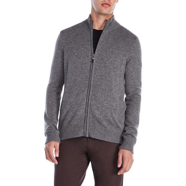 Qi Mock Neck Cashmere Zip Cardigan ($100) ❤ liked on Polyvore featuring men's fashion, men's clothing, men's sweaters, grey, mens cashmere sweaters, mens cashmere half zip sweater, mens collared sweater, mens grey cardigan sweater and mens zip cardigan sweater