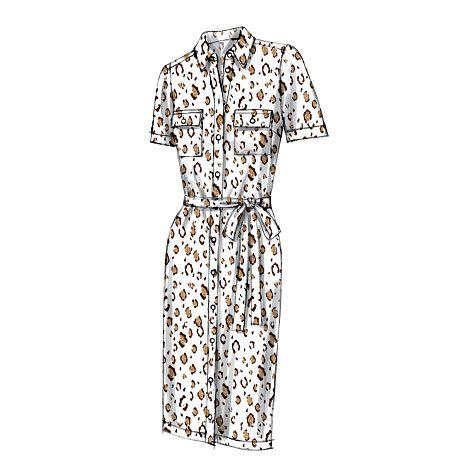 V8903  Loose-fitting dress has collar/mock front band, yokd, forward (no shoulder) shoulder seams, and stitched hem. #voguepatterns #shirtdress