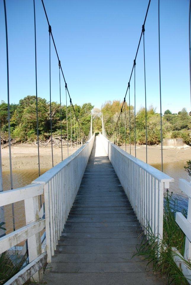 Swing bridge, Urenui, Taranaki New Zealand
