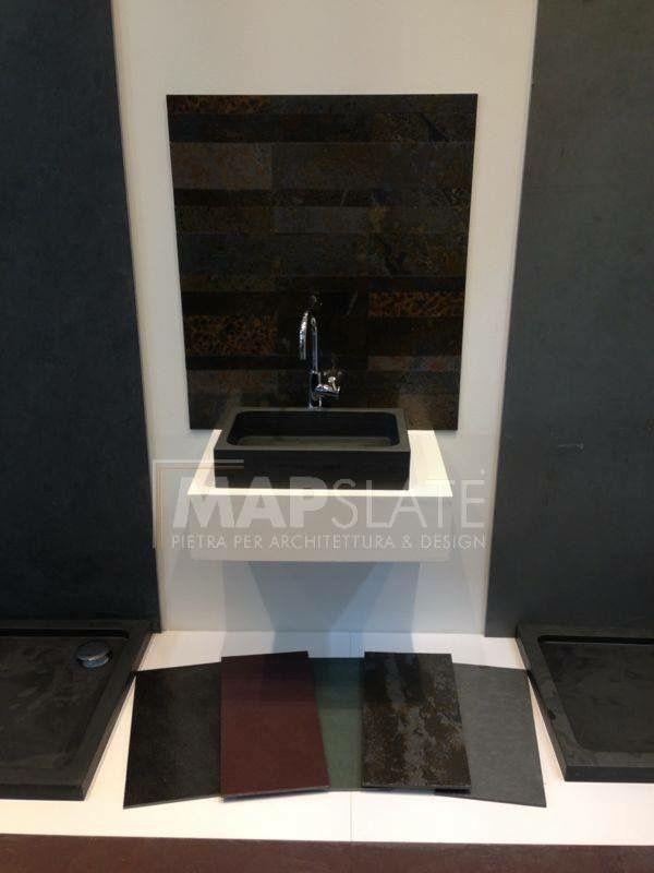 Map slate: pietra naturale per architettura e design.  Ardesia per top bagno, top cucina, piatti doccia e lavandini in pezzi unici, pavimenti e rivestimenti, scale su misura e molto altro