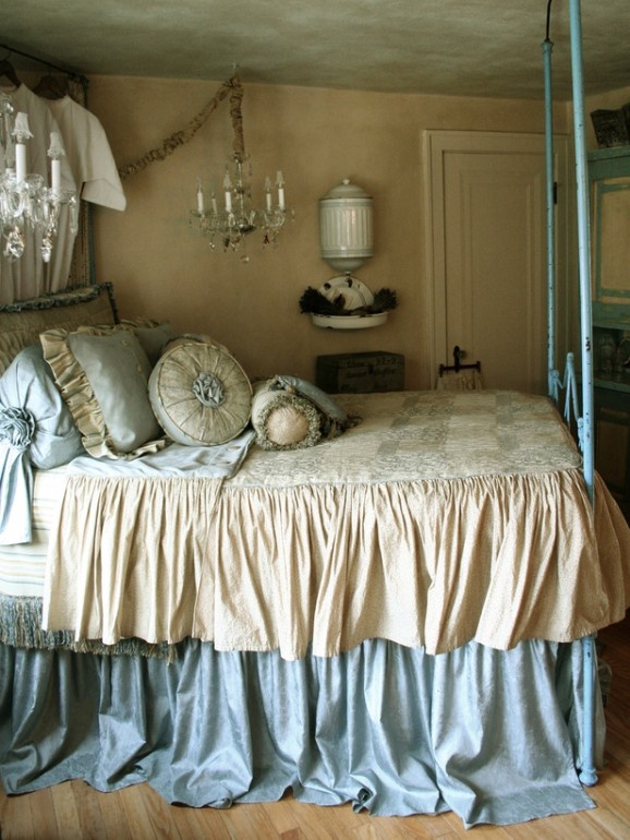 Blue and cream bedroom.