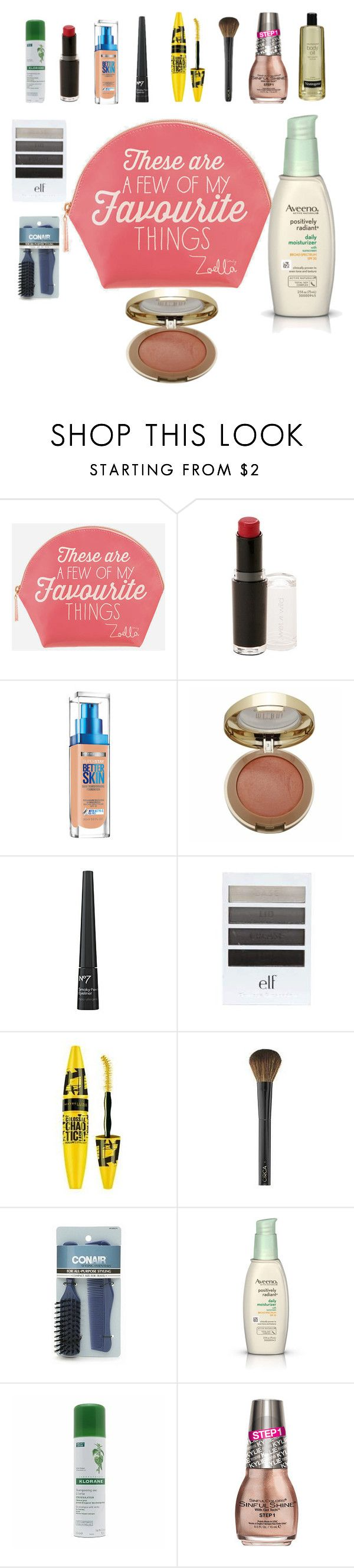 """""""drugstore"""" by aries-indonesia ❤ liked on Polyvore featuring beauty, Zoella Beauty, Wet n Wild, Maybelline, Boots No7, Conair, Aveeno, Klorane, Neutrogena and beautydupes"""