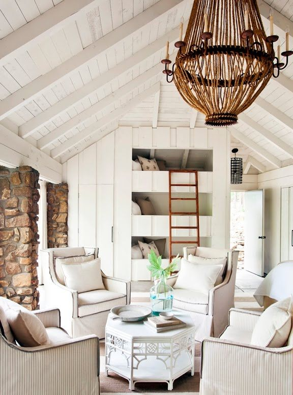 COCOCOZY: Living Rooms, Lakes House, Beaches House, Built In, Chairs, Bunk Beds, Interiors Design, Triple Bunk, Bunk Rooms