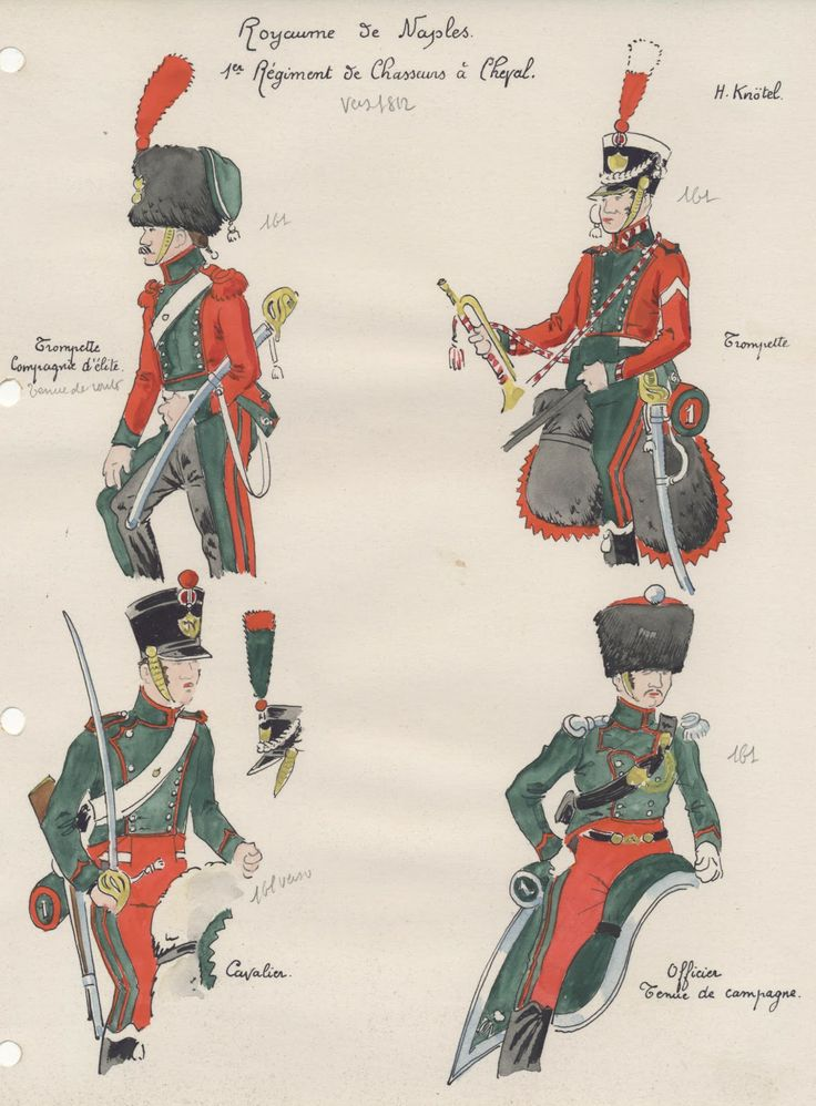 Kingdom Of Naples. 1st Regt Chasseurs a Cheval. 1812. From top Left Clockwise; Trumpeter Elite Company, Trumpeter, Trooper and an Officer (possibly elite company) in campaign uniform