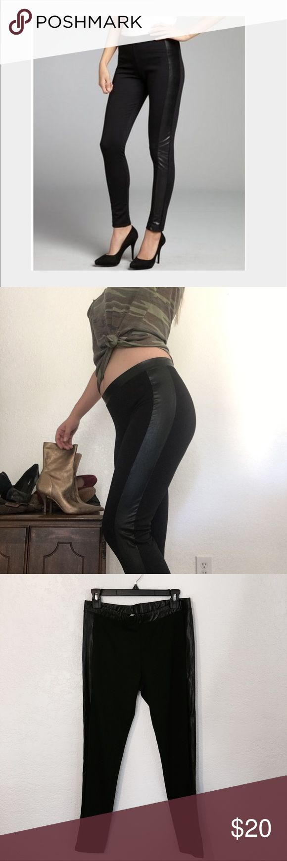 Wyatt leather panel leggings Good thick quality fabric. Faux leather panels on the sides and around waistband. Leather is a little wrinkled. Size large. I'm an 8 and these fit me perfectly with a little wiggle room. wyatt Pants