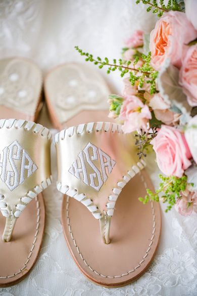 Custom Monogrammed Gold Jack Rogers // Blush Pink, Peach + White Coastal Charleston SC Wedding at The Island House // Dana Cubbage Weddings // Charleston SC Wedding Photography