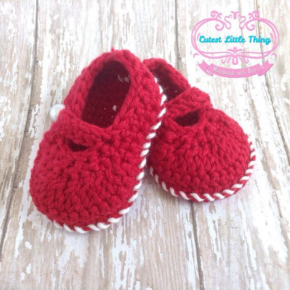 Red Shoes Baby Shoes Baby Girl Baby Booties by CutestlittleThing