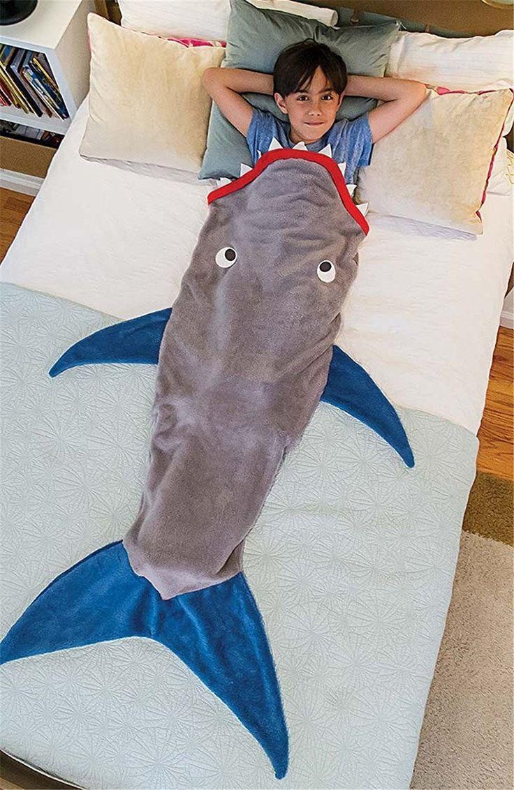 LikeepTM Kinder Meerjungfrau - Decke Schlafsack Kuschelige Flauschedecke und Hai Tagesdecke Blanket (Hai-Grau)