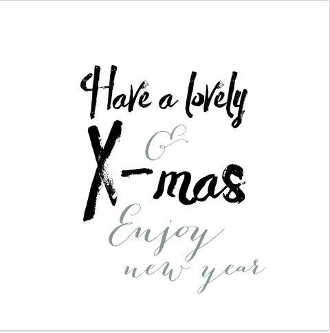 Witte zakelijke kerstkaart voor je zaken relaties of voor in het kerstpakket. Met Engelse teksten in een hippe brush handgeschreven lettertype. Geheel zelf aan te passen. Gratis verzending in Nederland en België.