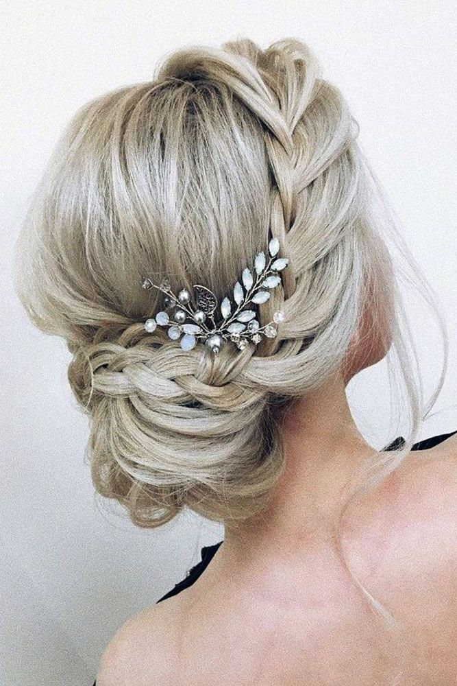 Pinterest Wedding Hairstyles Low Bun With Side French Braid Xenia Stylist Via Instagram Sideupdos Hair Styles Updos For Medium Length Hair Long Hair Styles