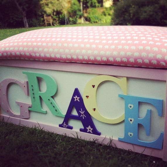 Childs Wooden Toy Box / Seat / Ottoman - Personalised on Etsy, £59.00