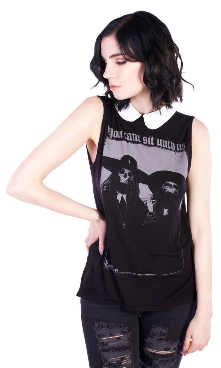 Can't Sit With Us Top #disturbiaclothing disturbia collared print alien goth occult grunge alternative