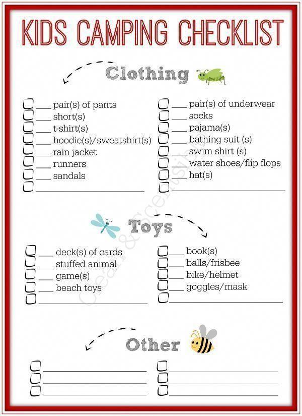 Liste de contrôle imprimable gratuite pour les enfants – Maintenant, les enfants peuvent emballer leurs propres affaires avec …   – Campings Checklist Tricks
