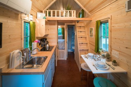 tiny house village! this kitchen/dining area is better than my last apartment, honestly.