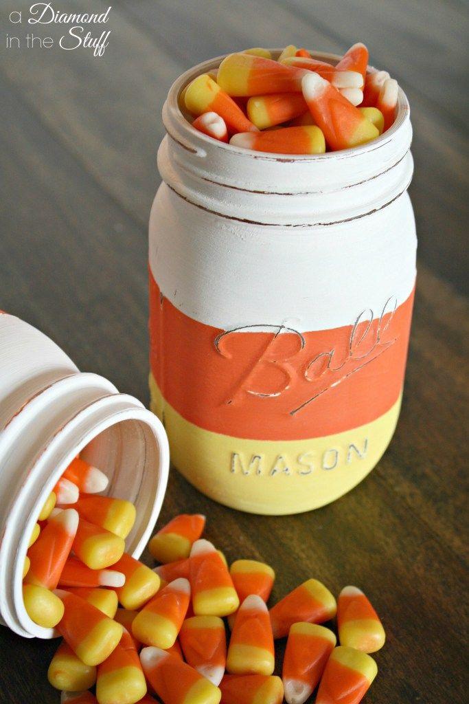 diy candy corn mason jars halloween decorationshalloween