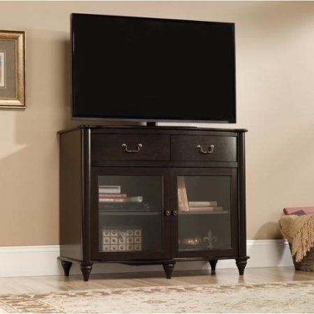 Sauder Furniture 416697  Albany Home Highboy TV Stand Jamocha Dark Wood