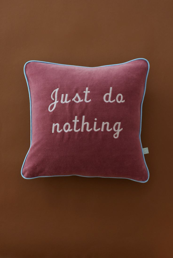 Embroidered and customised velvet cushion