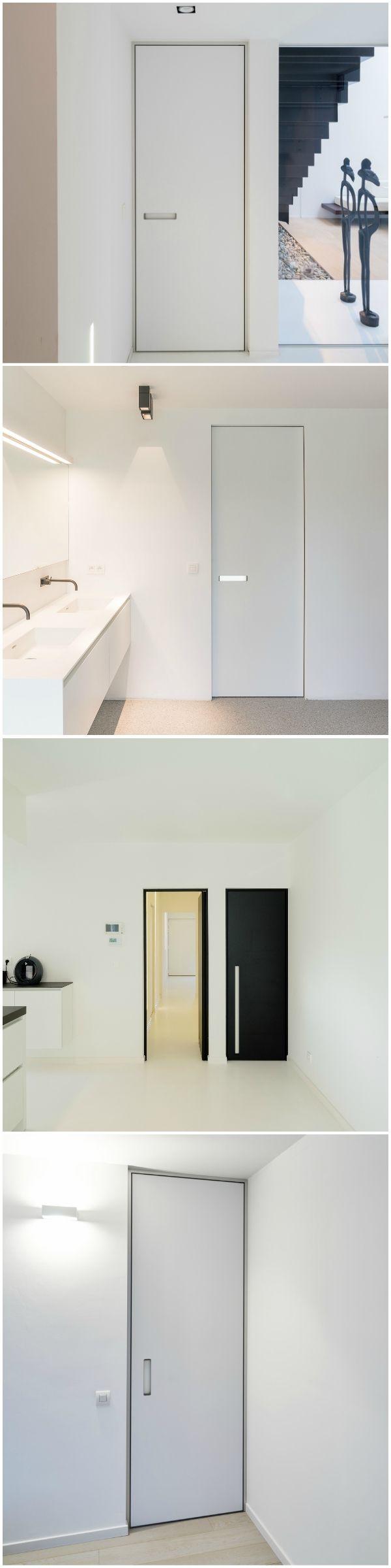 Moderne binnendeuren met ingefreesde handgrepen. De ingebouwde grepen zijn beschikbaar in verschillende versies.