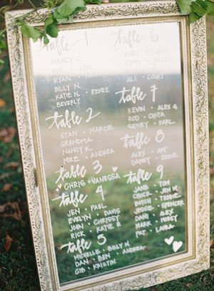 Mirror calligraphy seating display idea