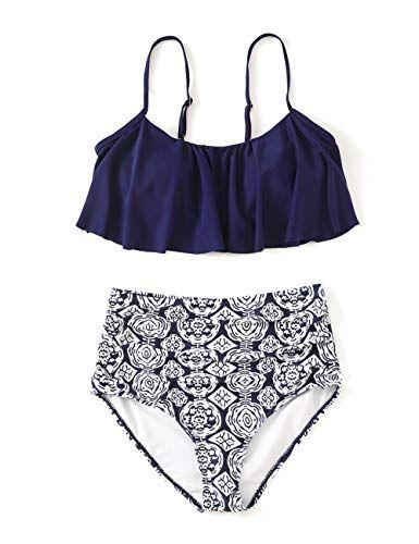 46c4b3a99c Minimalism Le Women Thin Shoulder Straps High Waist Swimsuit Ruffle Swimwear  Ruched Bikini Set Ruched Bikini Set,#Shoulder, #Straps, #High, #Thin