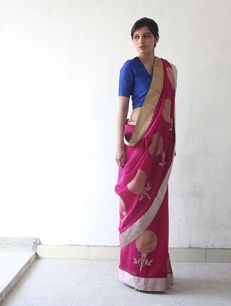Deep Pink Golden Silver Chanderi & Zari Marigold #Saree By Raw Mango. Available Online At Jaypore.com.