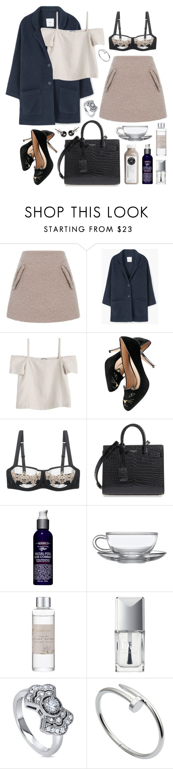 """""""Gioia"""" by sophiehackett ❤ liked on Polyvore featuring N°21, MANGO, Shaina Mote, Charlotte Olympia, Fleur of England, Yves Saint Laurent, Kiehl's, Shabby Chic, Christian Dior and BERRICLE"""