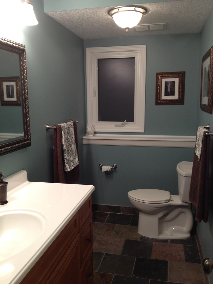 Slate Floor And Shower With The Color Sea Star By Benjamin Moore Fall Pinterest Bathroom