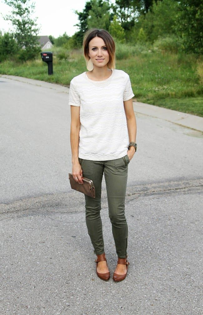 Cream lace tee, olive skinnies, ankle strap flats