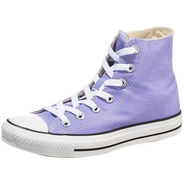 Converse CHUCK TAYLOR ALL STAR HIGH Hightop trainers lavender glow ($67) ❤ liked on Polyvore featuring shoes, sneakers, converse, purple, purple shoes, high top trainers, cap toe shoes, purple flat shoes and converse shoes