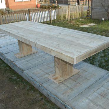 17 beste idee n over pallet tafel buiten op pinterest for Tuintafel maken van steigerhout