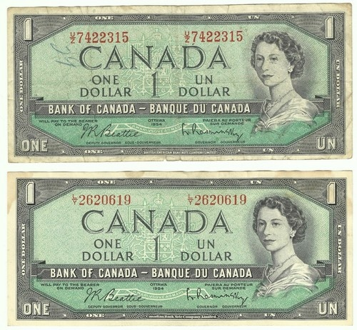 Lot of 2 Old 1954 Canadian $1 Dollar Paper Money Bills