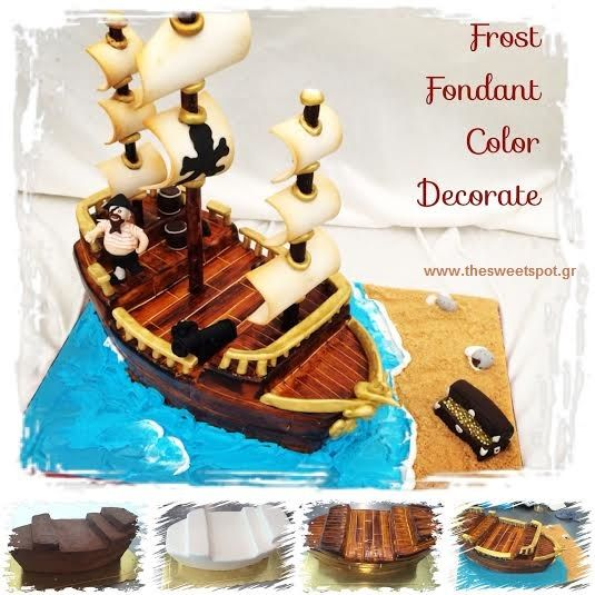 #3D #decorated #cake #pirate #ship #tutorial