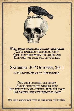halloween party invitations diy | Halloween Skull and Crow Invitaiton - we design, you print