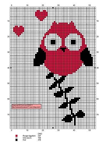 Een ROZE Uiltje, nou, wat wil ik nog meer?!  Cute owl cross stitch pattern