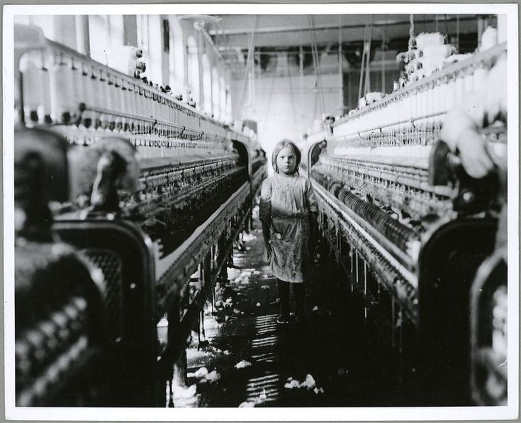 Ten year old spinner in a North Carolina cotton mill, 1900-1937. (Lewis W. Hine)