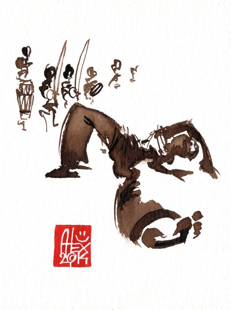 Illustration : Capoeira – 714 [ #capoeira #watercolor #illustration]