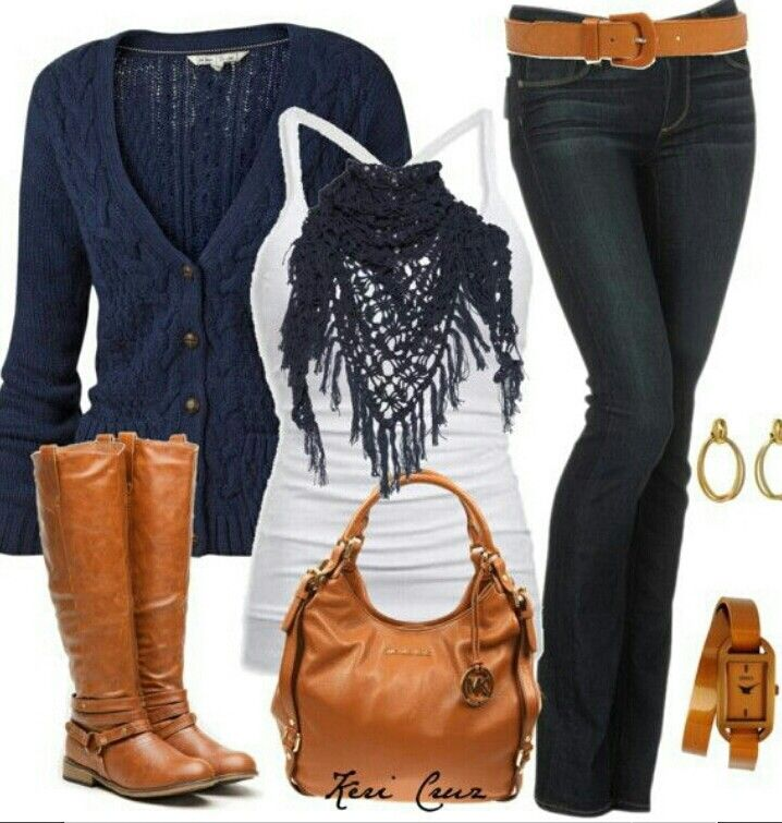 ♡ I like the color combo and the scarf and other accessories.