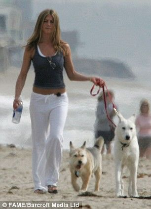 Jennifer Aniston takes her dogs, Norman and Dolly, for a stroll in Malibu. Description from liskayana.blogspot.com. I searched for this on bing.com/images