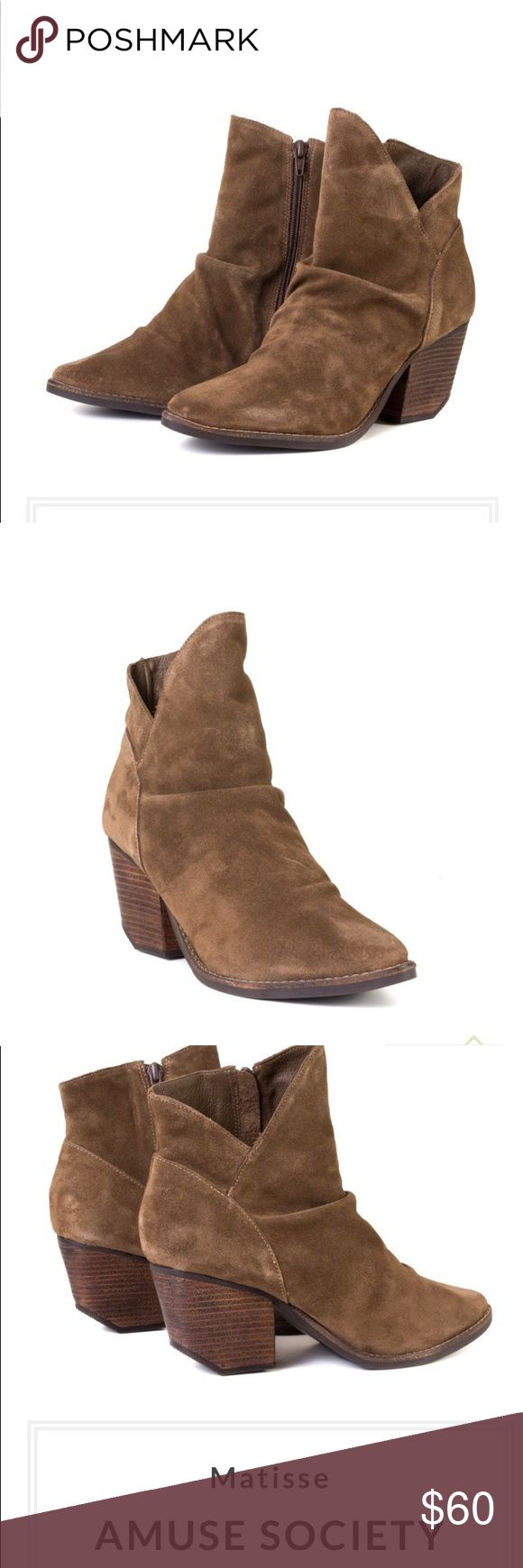 AMUSE SOCIETY Matisse boots tan Matisse Amuse Society Boot is the perfect bootie . The modernistic ankle silhouette creates a flattering line & the pointed toe gives a polished look. The subtle details makes this pair stand out from other boots in your collection.  Made in Brazil Thick and soft suede Suede upper, leather and textile lining Stacked leather heel with a full rubber sole 3 inch heel Inside zipper Classic bootie with a modernistic ankle silhouette and chic heel Matisse Shoes…