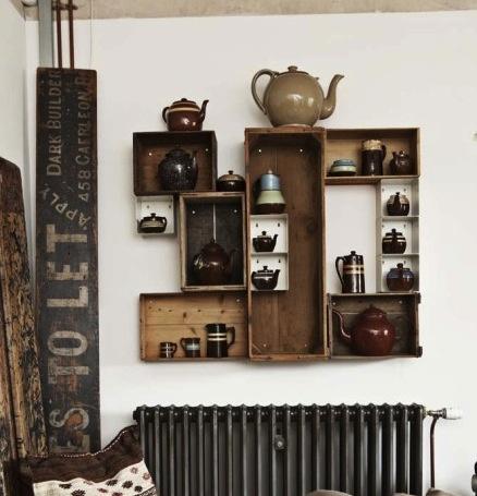 reclaimed wood shelving #housebeautiful #dreamlivingroom
